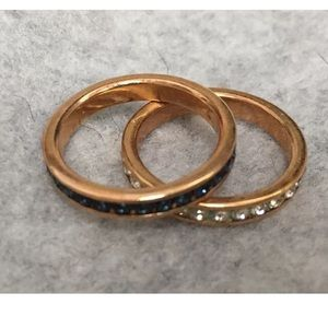 Avon Stacking Rings Infinity Blue Clear Gold Tone